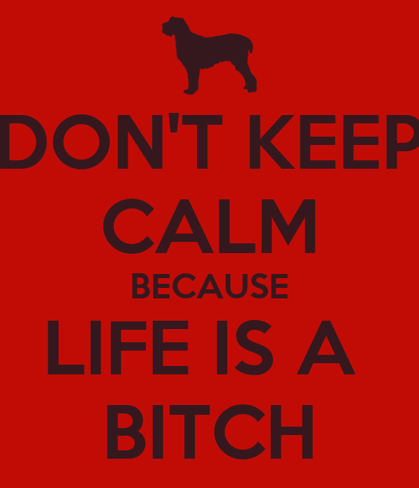 DON'T KEEP CALM BECAUSE LIFE IS A  BITCH