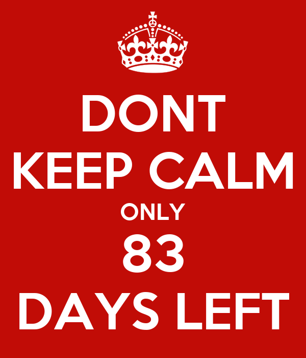DONT KEEP CALM ONLY 83 DAYS LEFT