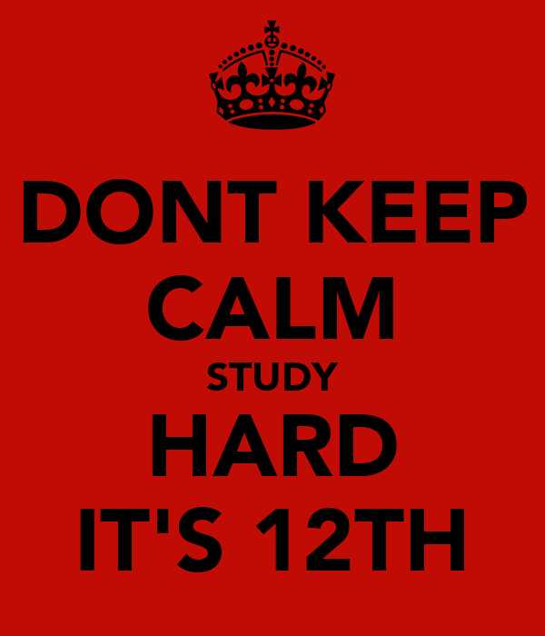 DONT KEEP CALM STUDY HARD IT'S 12TH