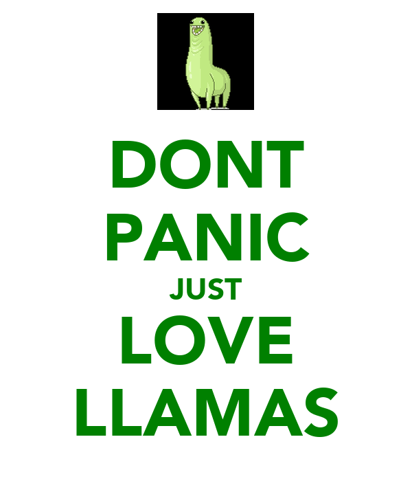 DONT PANIC JUST LOVE LLAMAS