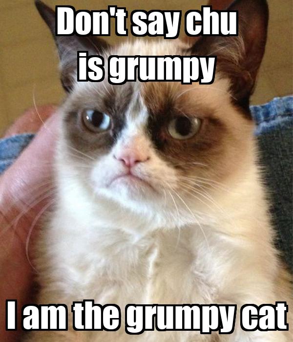 Don't say chu is grumpy I am the grumpy cat