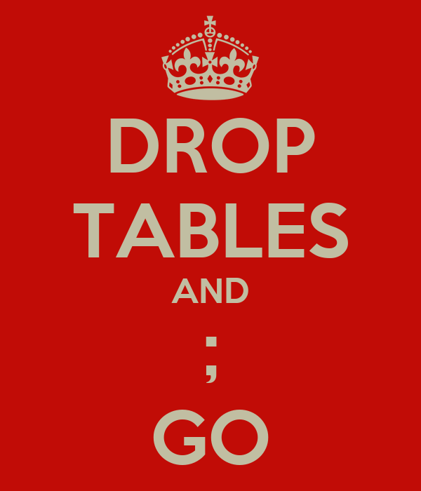 DROP TABLES AND ; GO