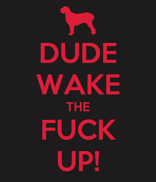 DUDE WAKE THE FUCK UP!