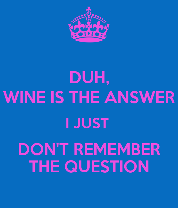 DUH, WINE IS THE ANSWER I JUST  DON'T REMEMBER THE QUESTION
