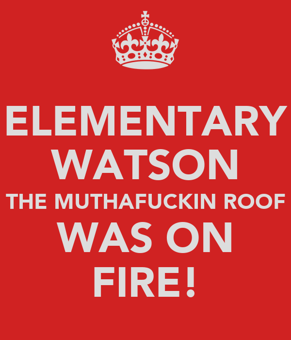ELEMENTARY WATSON THE MUTHAFUCKIN ROOF WAS ON FIRE!