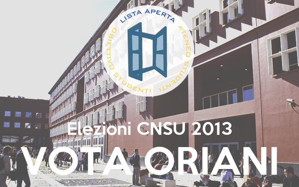 Elezioni CNSU 2013 VOTA ORIANI