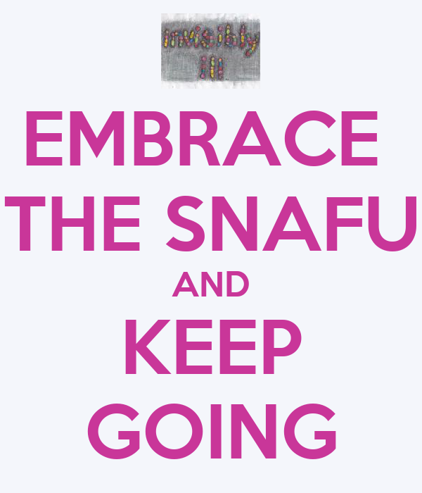 EMBRACE  THE SNAFU AND KEEP GOING