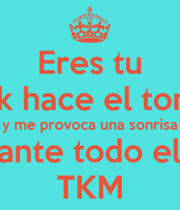 Eres tu el k hace el tonto y me provoca una sonrisa durante todo el día TKM