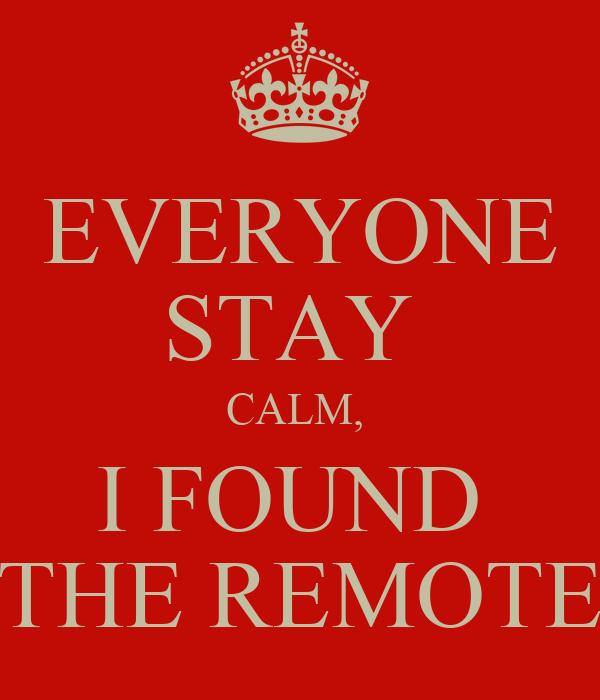 EVERYONE STAY  CALM,  I FOUND  THE REMOTE
