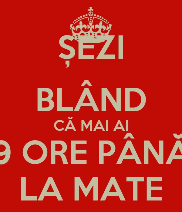 ȘEZI BLÂND CĂ MAI AI 9 ORE PÂNĂ LA MATE