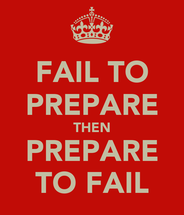 FAIL TO PREPARE THEN PREPARE TO FAIL