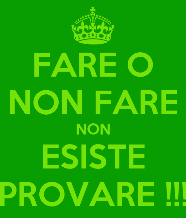 FARE O NON FARE NON ESISTE PROVARE !!!