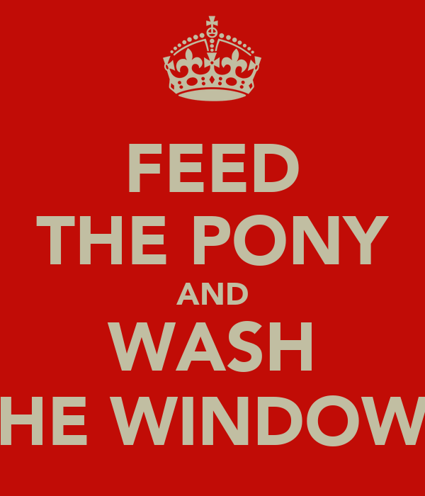 FEED THE PONY AND WASH THE WINDOWS