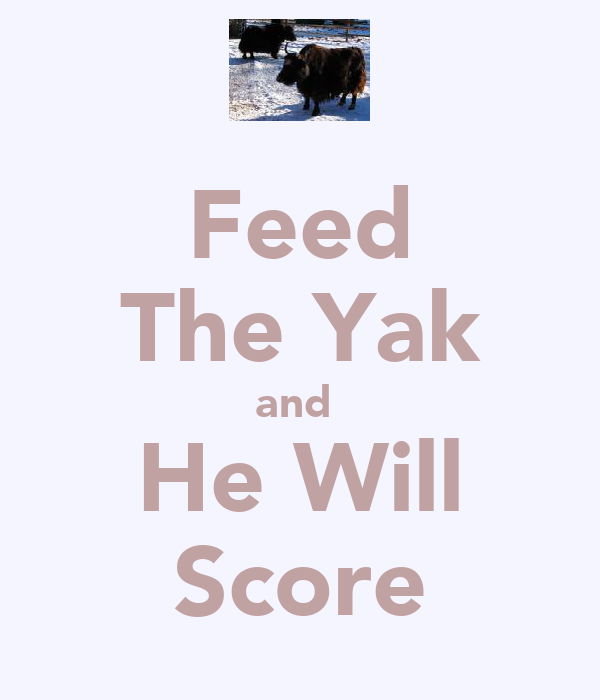 Feed The Yak and  He Will Score
