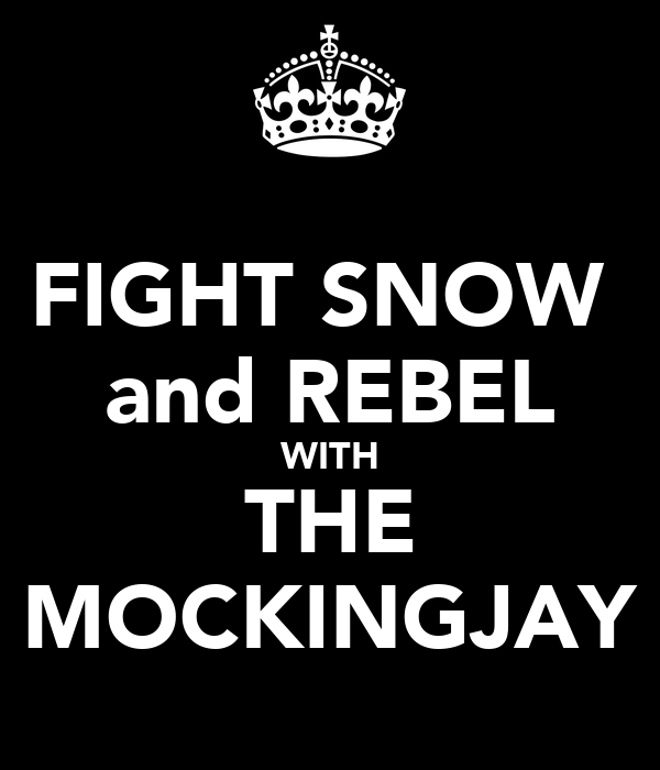 FIGHT SNOW  and REBEL WITH THE MOCKINGJAY