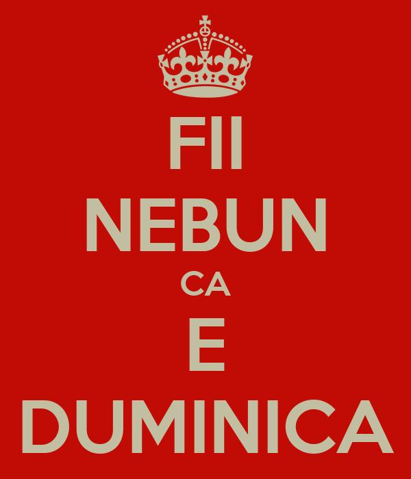 FII NEBUN CA E DUMINICA