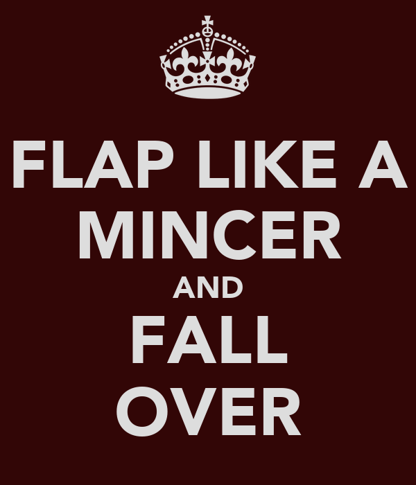 FLAP LIKE A MINCER AND FALL OVER