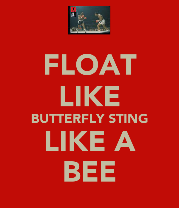 FLOAT LIKE BUTTERFLY STING LIKE A BEE