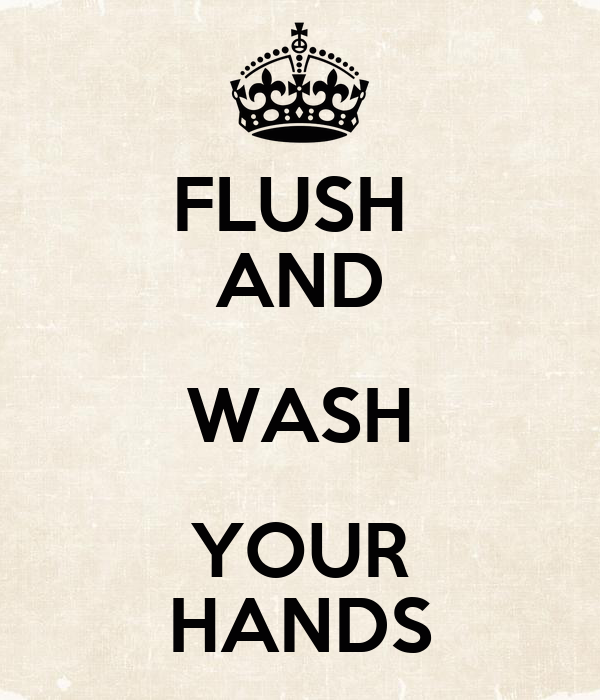 FLUSH  AND WASH YOUR HANDS