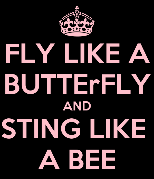 FLY LIKE A BUTTErFLY AND STING LIKE  A BEE