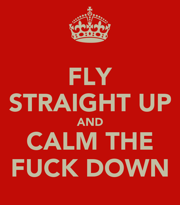 FLY STRAIGHT UP AND CALM THE FUCK DOWN