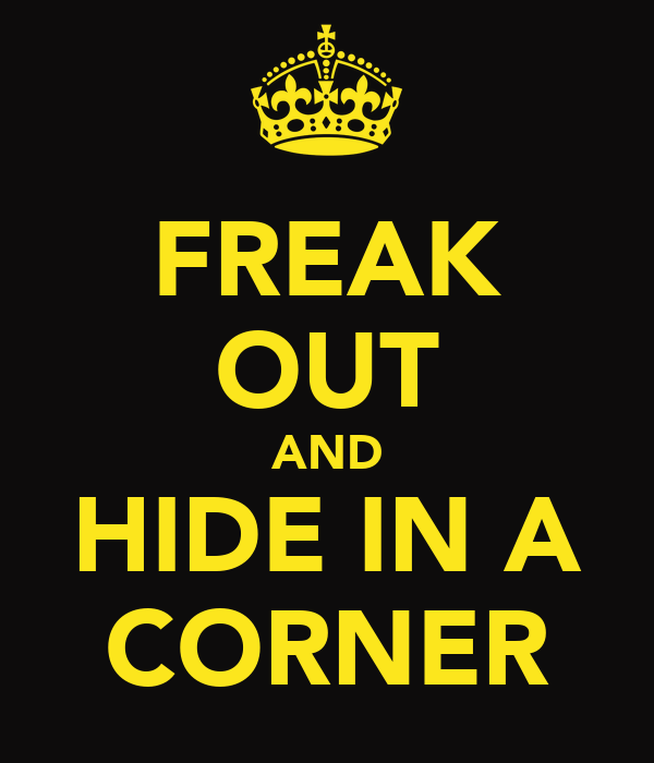 FREAK OUT AND HIDE IN A CORNER