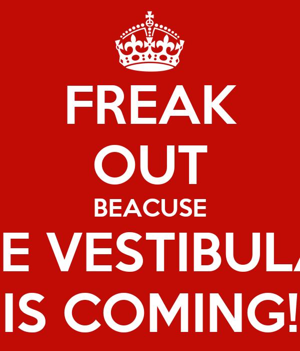 FREAK OUT BEACUSE THE VESTIBULAR IS COMING!