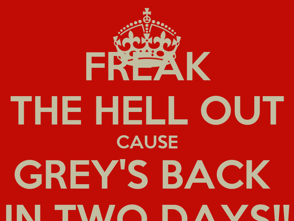 FREAK THE HELL OUT CAUSE GREY'S BACK  IN TWO DAYS!!
