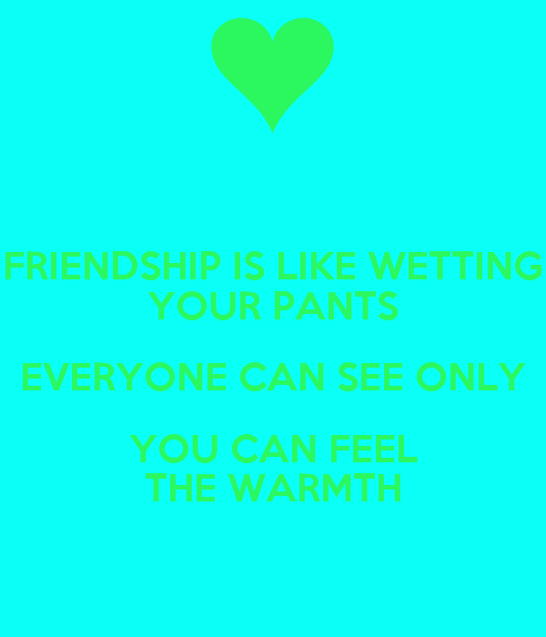 FRIENDSHIP IS LIKE WETTING YOUR PANTS EVERYONE CAN SEE ONLY YOU CAN FEEL THE WARMTH