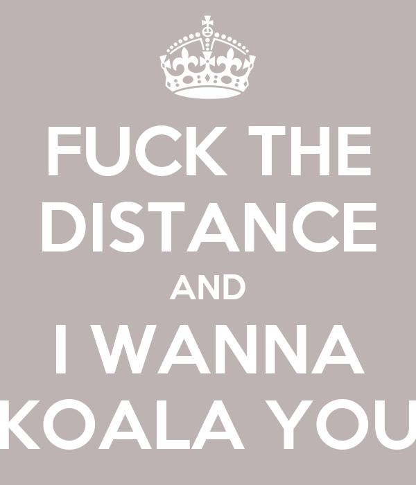FUCK THE DISTANCE AND I WANNA KOALA YOU
