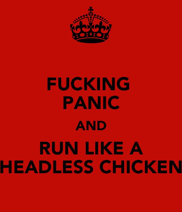 FUCKING  PANIC AND RUN LIKE A HEADLESS CHICKEN