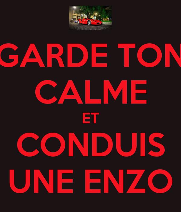 GARDE TON CALME ET CONDUIS UNE ENZO