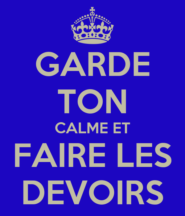 GARDE TON CALME ET FAIRE LES DEVOIRS