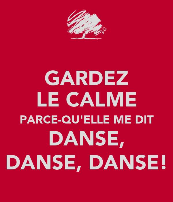 GARDEZ LE CALME PARCE-QU'ELLE ME DIT DANSE, DANSE, DANSE!