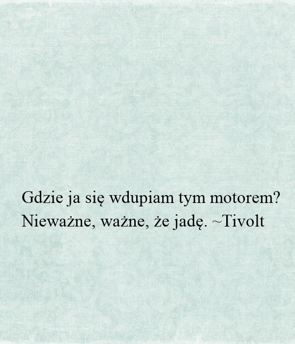 Gdzie ja się wdupiam tym motorem? Nieważne, ważne, że jadę. ~Tivolt