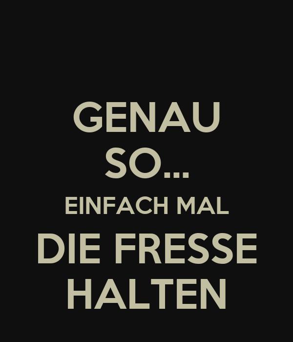 GENAU SO... EINFACH MAL DIE FRESSE HALTEN