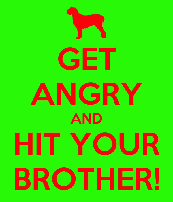 GET ANGRY AND HIT YOUR BROTHER!