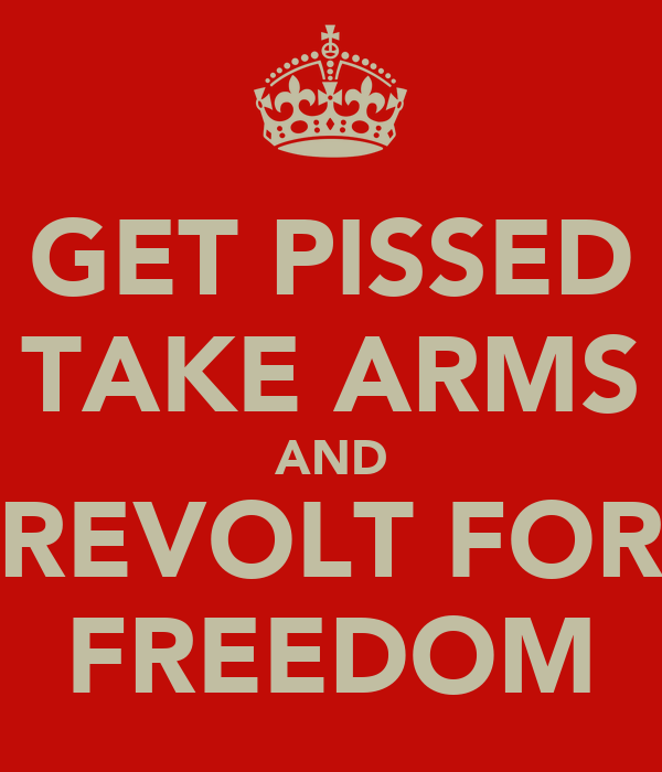GET PISSED TAKE ARMS AND REVOLT FOR FREEDOM