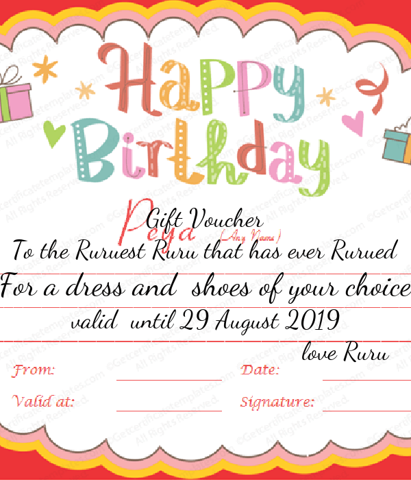 Gift Voucher To the Ruruest Ruru that has ever Rurued For a dress and  shoes of your choice valid  until 29 August 2019                                          love Ruru