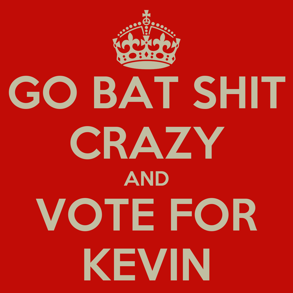 GO BAT SHIT CRAZY AND VOTE FOR KEVIN
