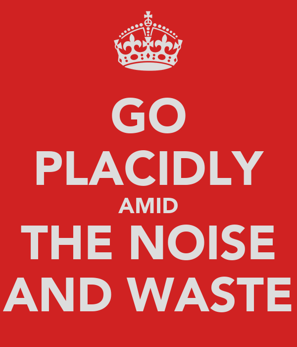 GO PLACIDLY AMID THE NOISE AND WASTE