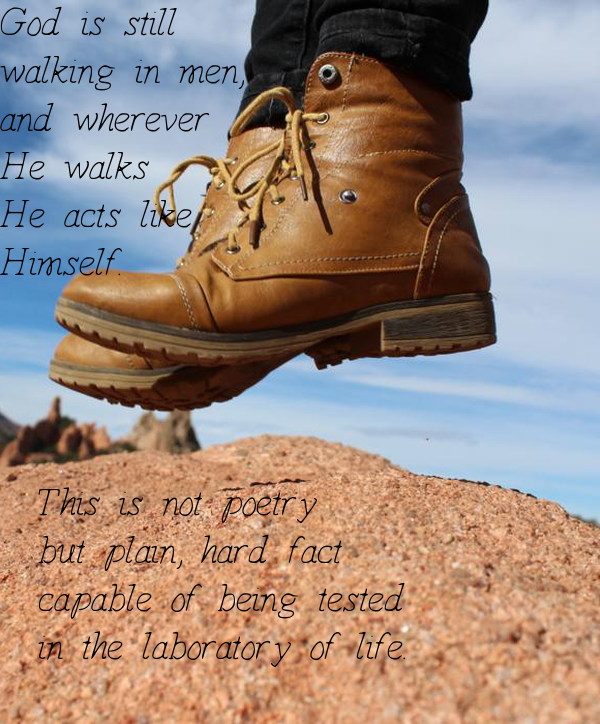 God is still  walking in men,  and wherever  He walks  He acts like  Himself.        This is not poetry    but plain, hard fact   capable of being