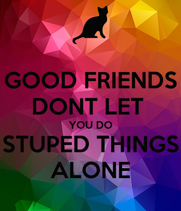 GOOD FRIENDS DONT LET  YOU DO STUPED THINGS ALONE