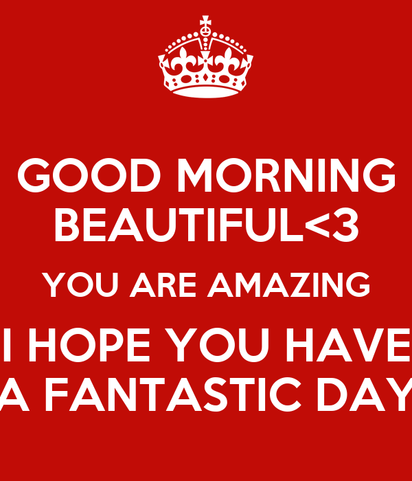 GOOD MORNING BEAUTIFUL<3 YOU ARE AMAZING I HOPE YOU HAVE A FANTASTIC DAY