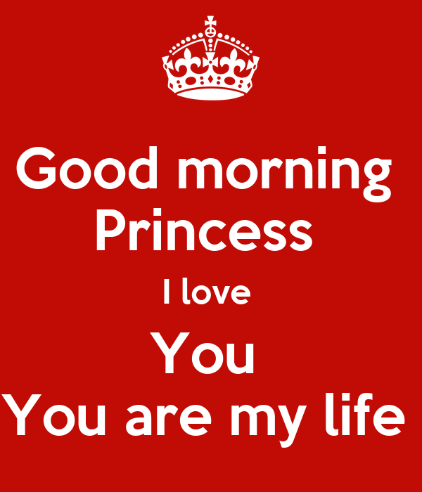good morning princess i love you you are my life