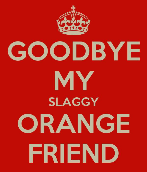 GOODBYE MY SLAGGY ORANGE FRIEND