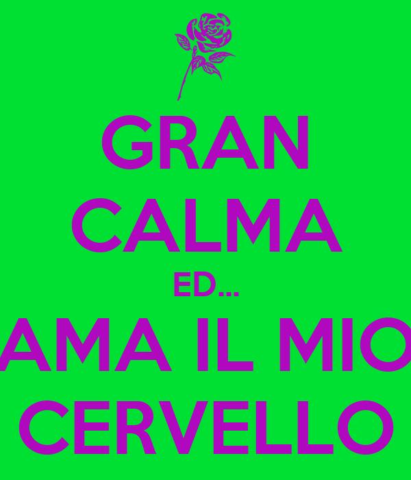 GRAN CALMA ED... AMA IL MIO CERVELLO