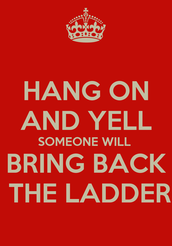 HANG ON AND YELL SOMEONE WILL  BRING BACK  THE LADDER