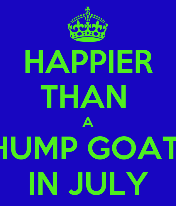 HAPPIER THAN  A HUMP GOAT  IN JULY
