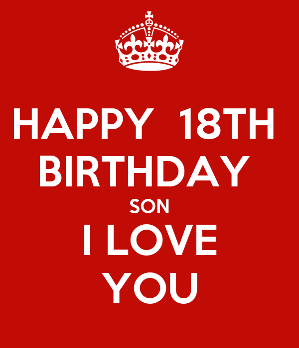 HAPPY 18TH BIRTHDAY SON I LOVE YOU Poster